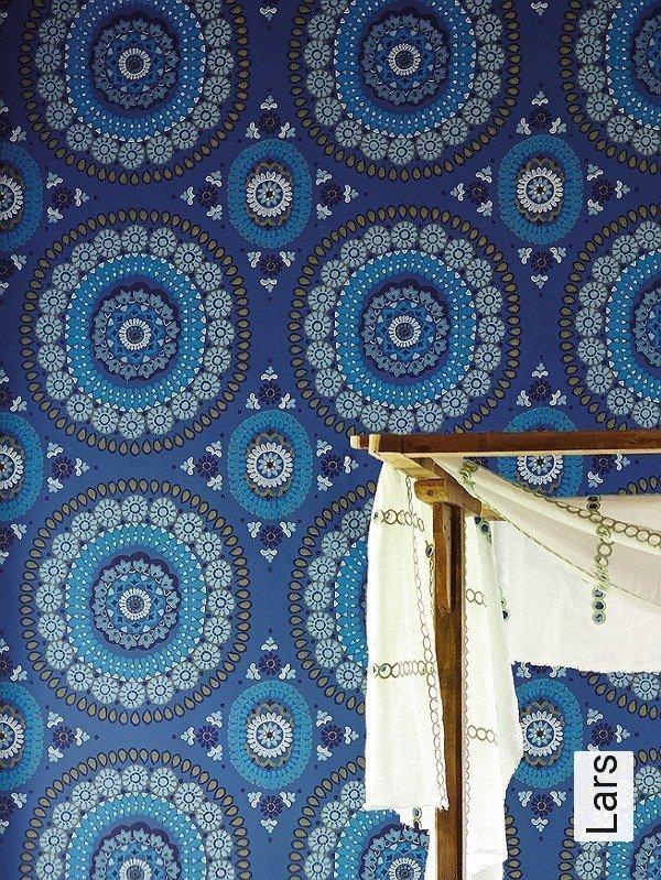 lars kreise ornamente grafische muster orientalisch blau gelb - Tapete Orientalisches Muster