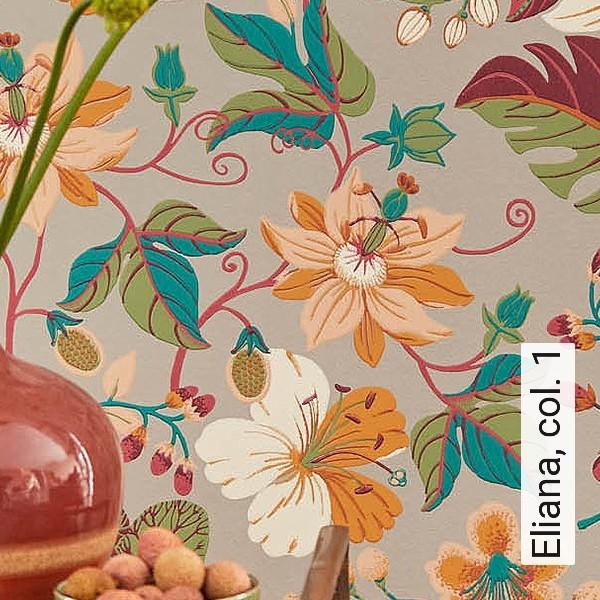 Fototapete Blumen Linien Bunt Blätter