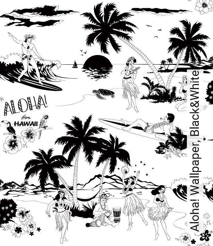 Tapete Aloha Wallpaper Blackwhite Dupenny By Emily Dupen