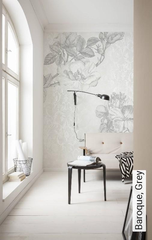 AuBergewohnlich Baroque, Grey Blumen FotoTapeten Grau Weiß