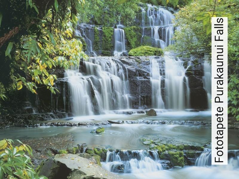 Fototapete Purakaunui Falls Landschaft Wasser FotoTapeten Grün Braun