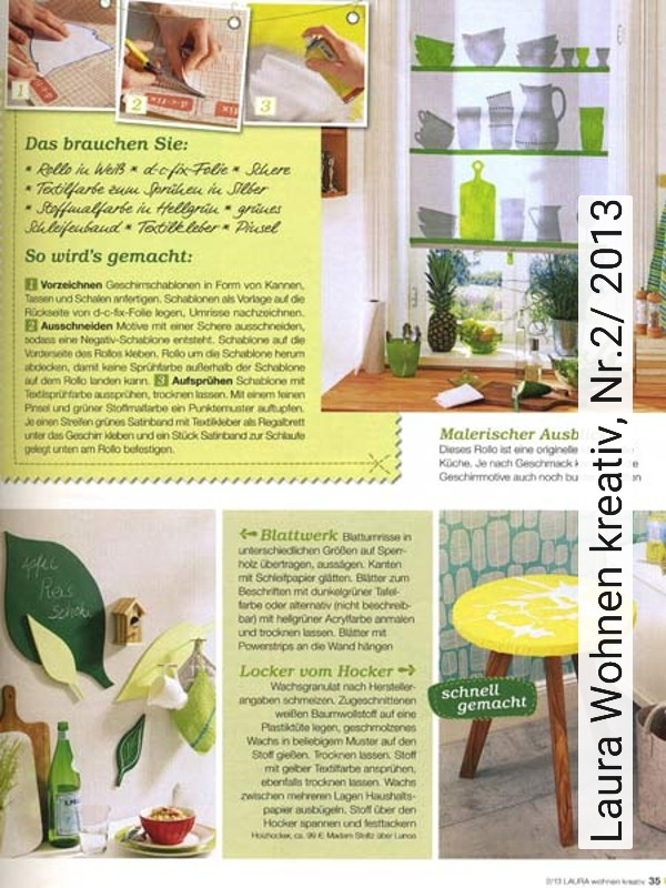 news laura wohnen kreativ nr 2 2013 die tapetenagentur. Black Bedroom Furniture Sets. Home Design Ideas