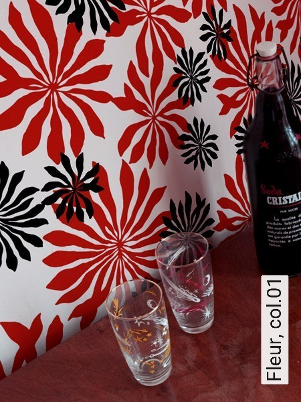 tapete fleur. Black Bedroom Furniture Sets. Home Design Ideas